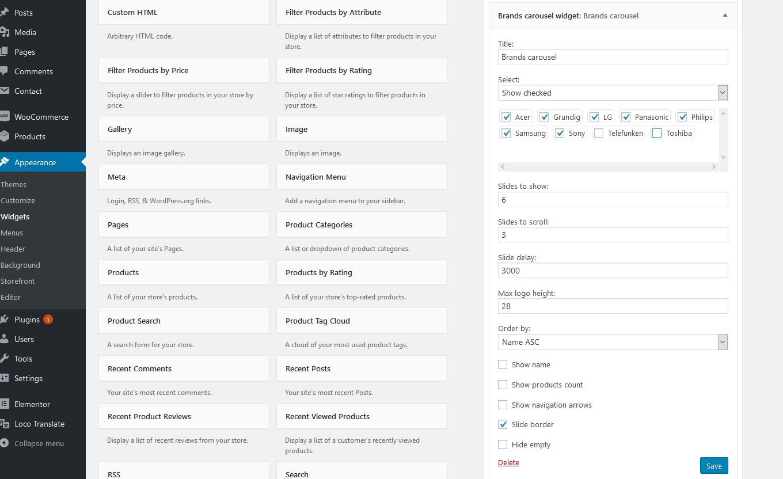 Brands carousel widget settings