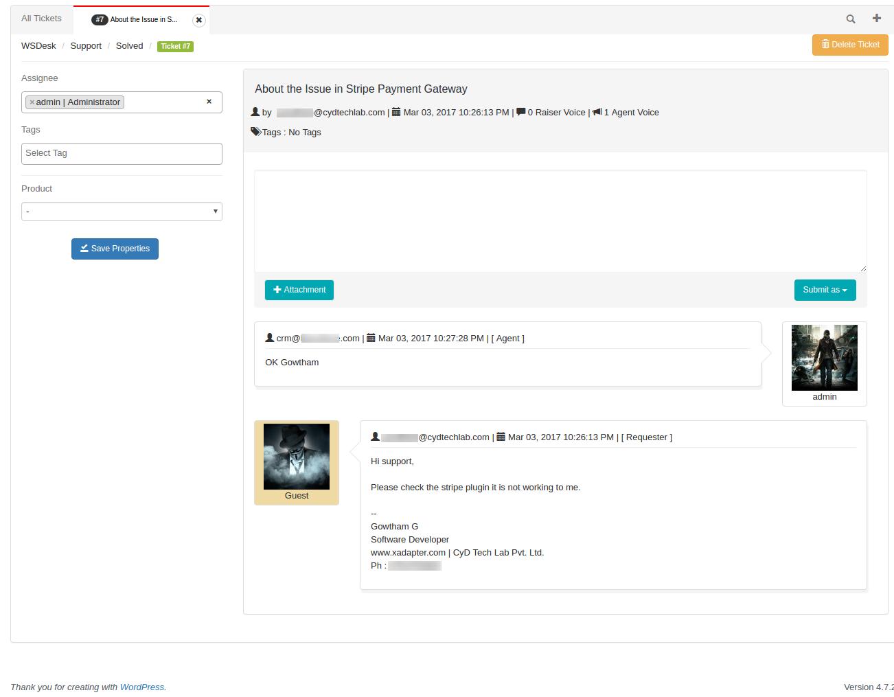 WSDesk – WordPress HelpDesk & Support Ticket System