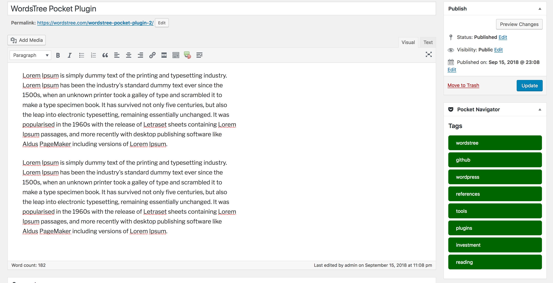 Post Editor Screen.