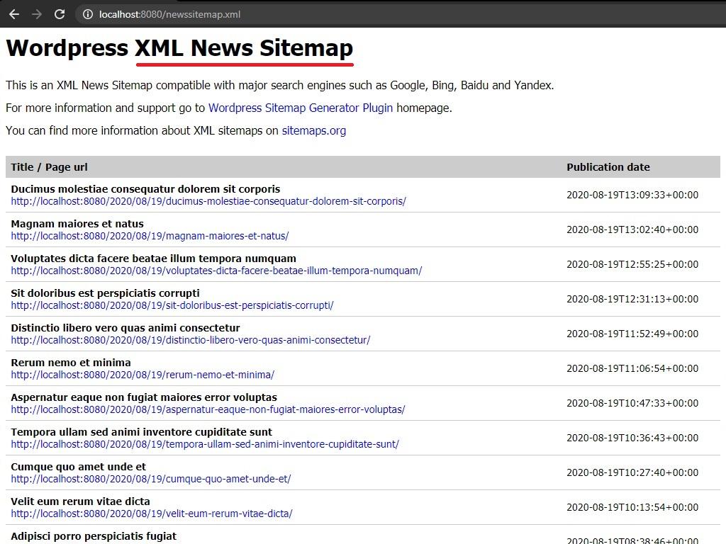 XML Sitemap news page