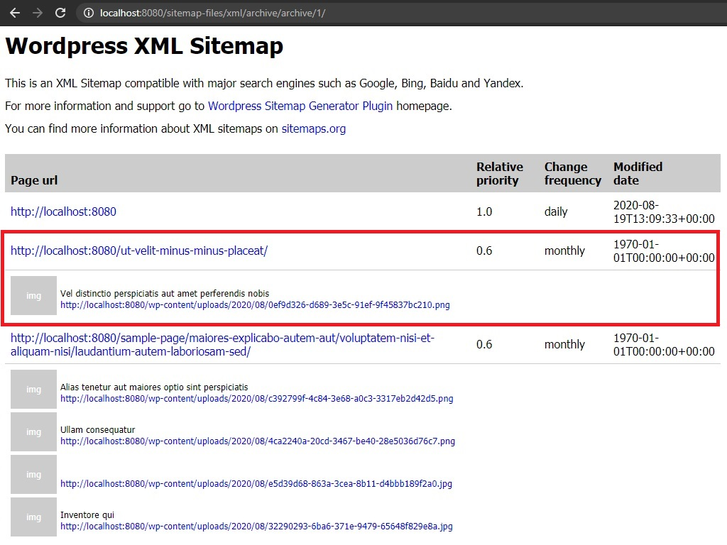 XML sitemap page with images