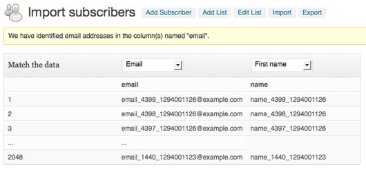 Importing subscribers with a CSV.