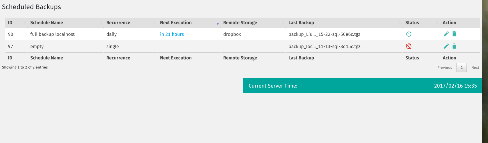 Manage Scheduled Backups Panel