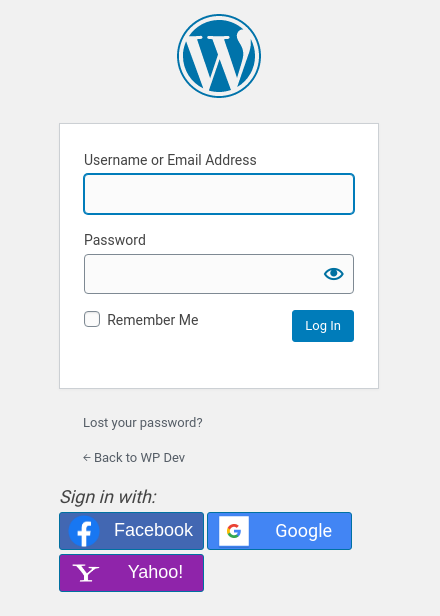 WordPress login page with buttons for external logins.