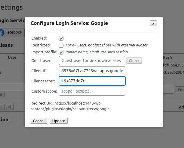 Configuration of OAuth2 based external service, e.g. Google. Note the redirect URI that should be added to the OAuth2 client configuration in the external service.