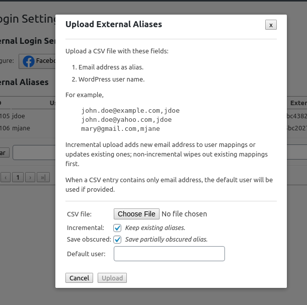 Upload CSV file of external aliases.