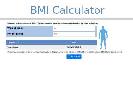 Example calculator built using XLSJuice: BMI calculator with image result