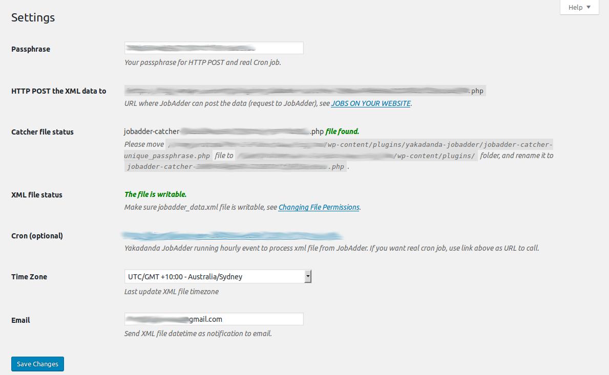 Yakadanda JobAdder settings page.