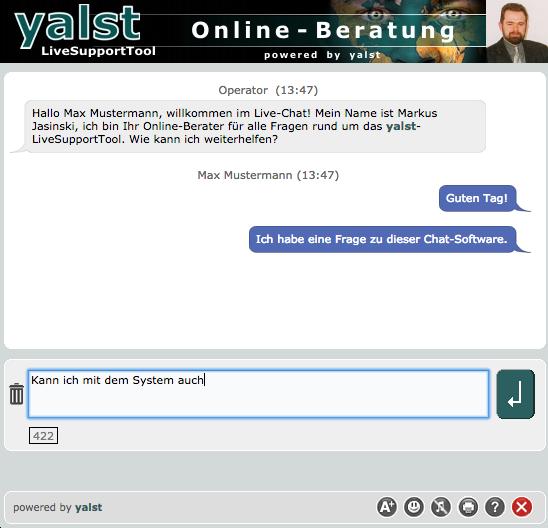 Chatfenster: Das yalst-Chatfenster auf Besucherseite mit minimalen Anpassungen. (Chat window: The yalst chat window on the visitor side with minimal adjustments.)