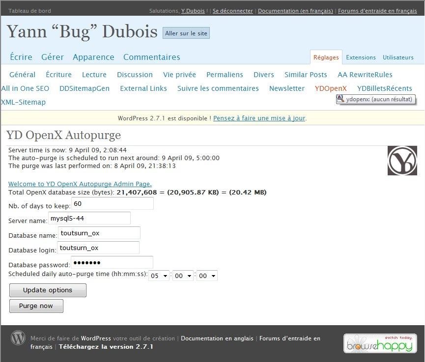The widget options admin page in WordPress 2.3