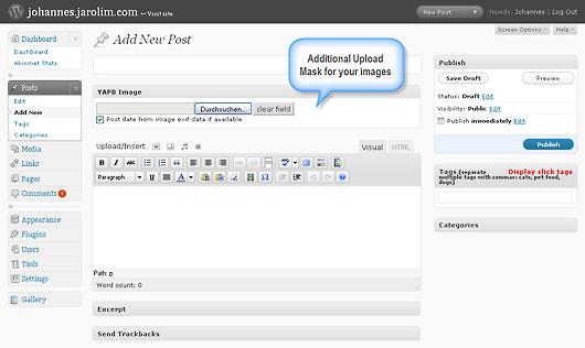 YAPB integrates thightly into wordpress