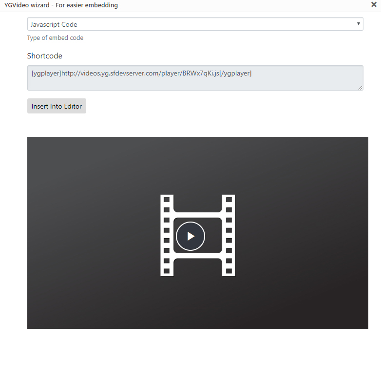 YGVideo wizard - Javascript Embed settings and shortcode
