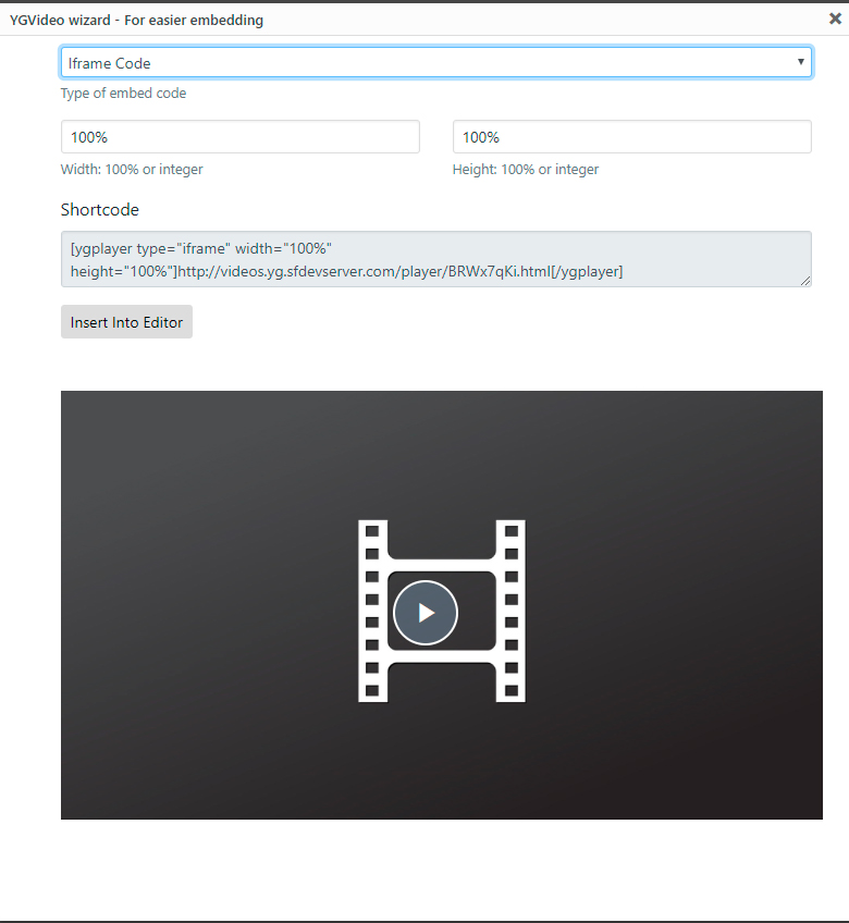 YGVideo wizard - Iframe Embed settings and shortcode
