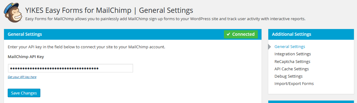 General Form Settings - Enter your API key to connect your site to your account