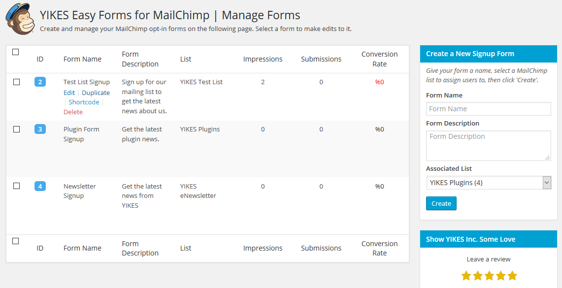 Manage Forms Page - See all the forms you have created for your lists and create new forms