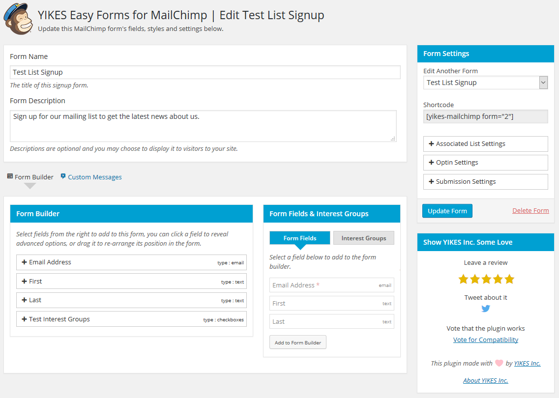 Form Editor Page - Build, edit and adjust the settings for your forms