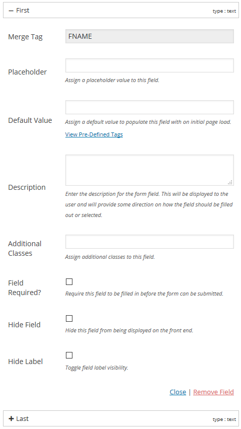 Form Field Options - Set a variety of options for each form field