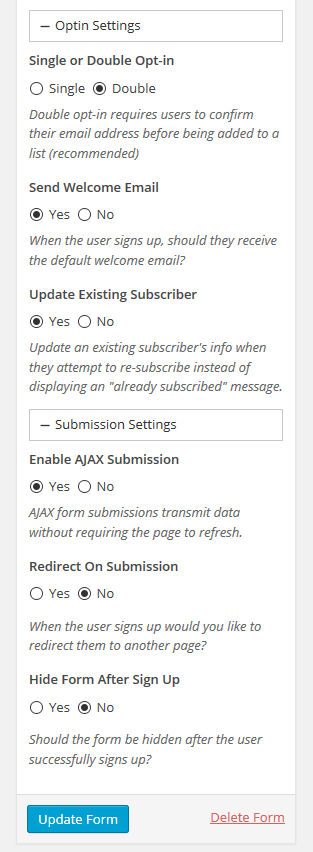 Form Opt-In and Submission Settings - Set the options for each form