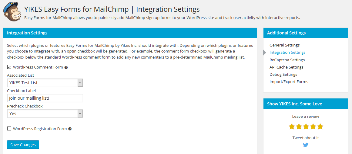 Integration Settings - Integrate opt-in checkboxes with other forms