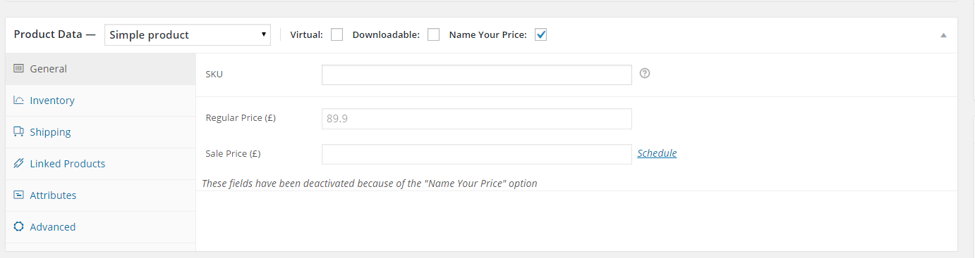 """Admin: enable """"Name Your Price"""" in single product"""