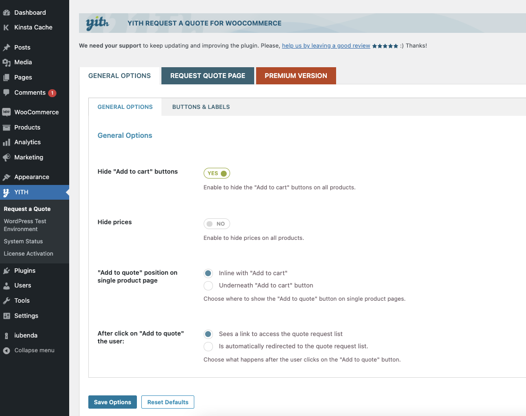 Yith Woocommerce Request A Quote Wordpress