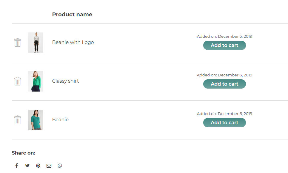 Show the date when the product has been added to the wishlist (only for logged-in users)