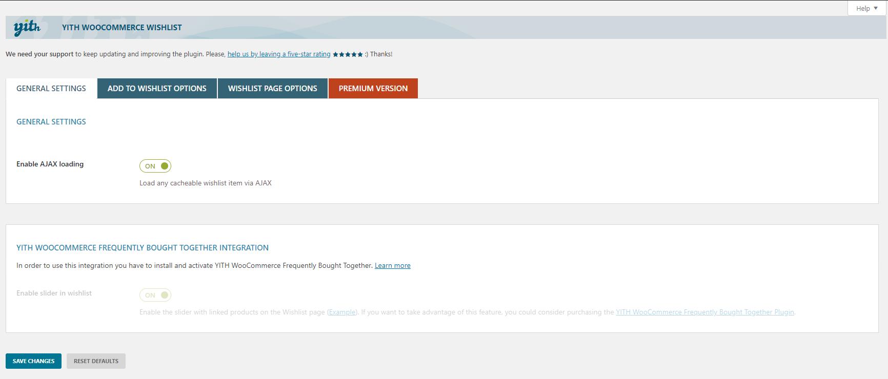 Wishlist settings page (1/3)
