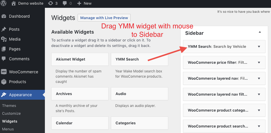 Add YMM widget to sidebar