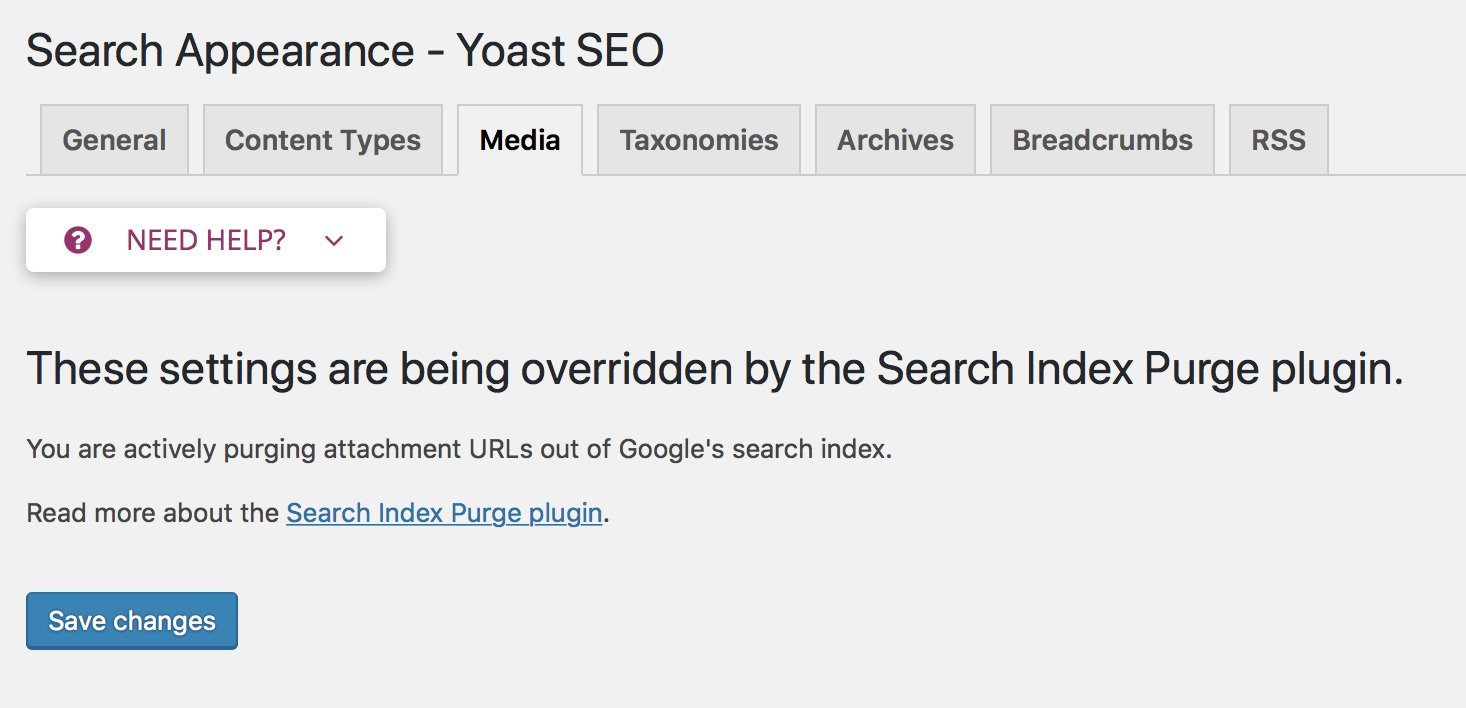The plugin takes over the Search Appearance → Media settings from Yoast SEO.