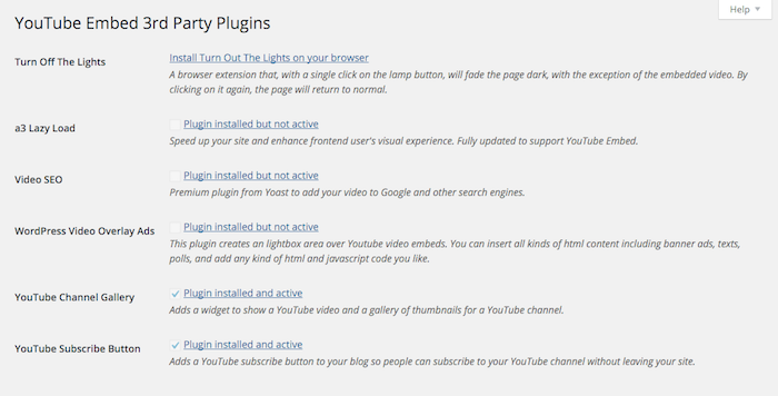 The third party plugins menu