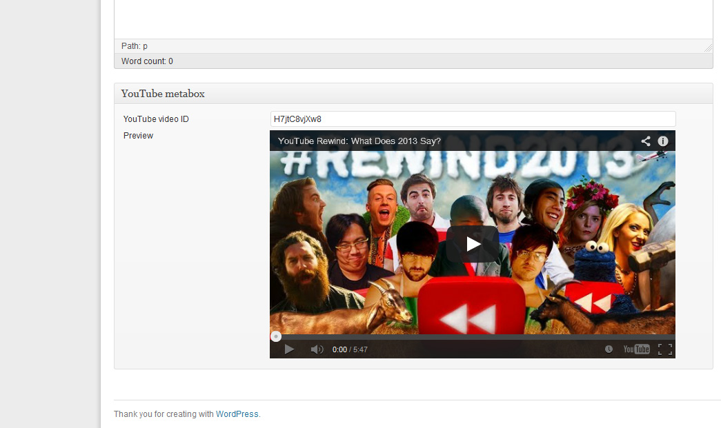 YouTube metabox in WP 3.7