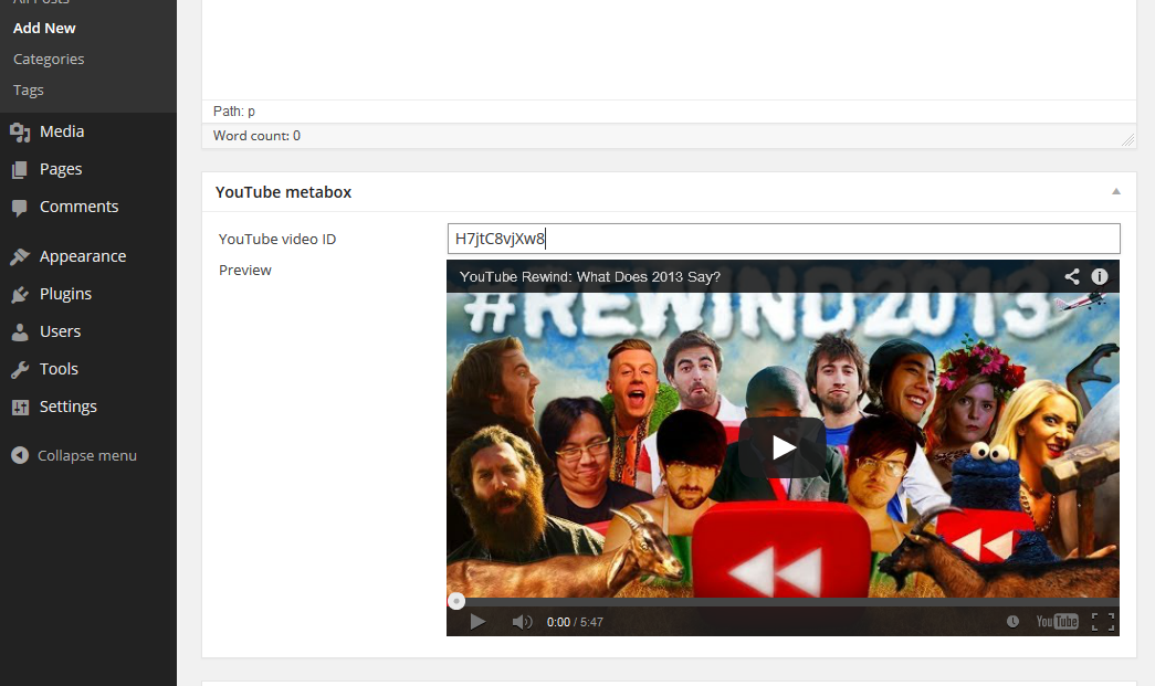 YouTube metabox in WP 3.8