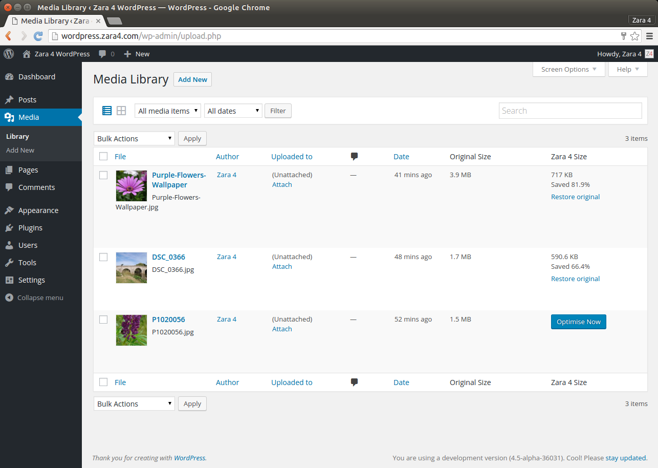 This screenshot shows the WordPress Media Library with the two columns added by Zara 4. From here you can optimise and restore individual images.