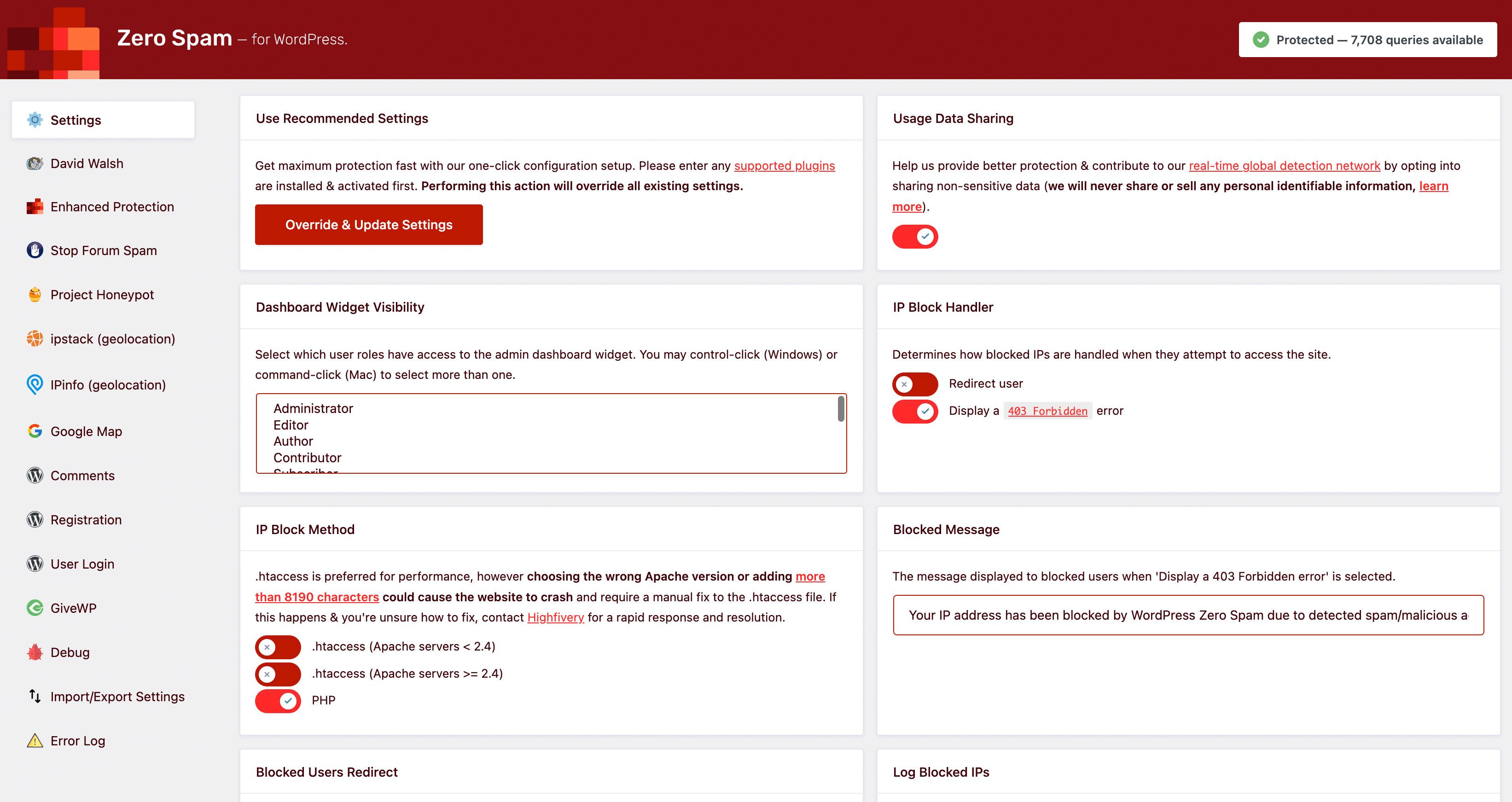 WordPress Zero Spam blocked IPs