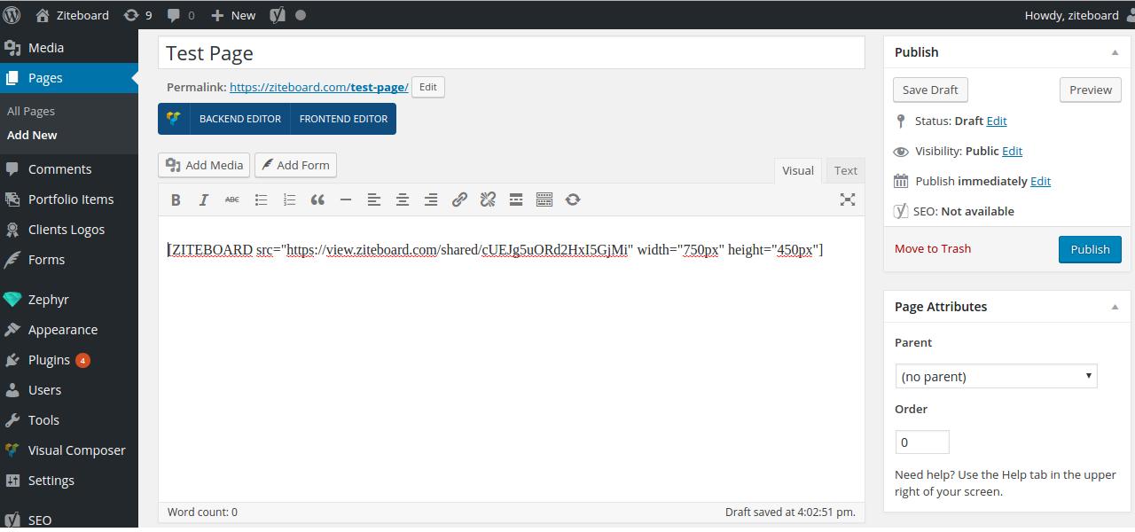 Appearance of the plugin in WordPress.