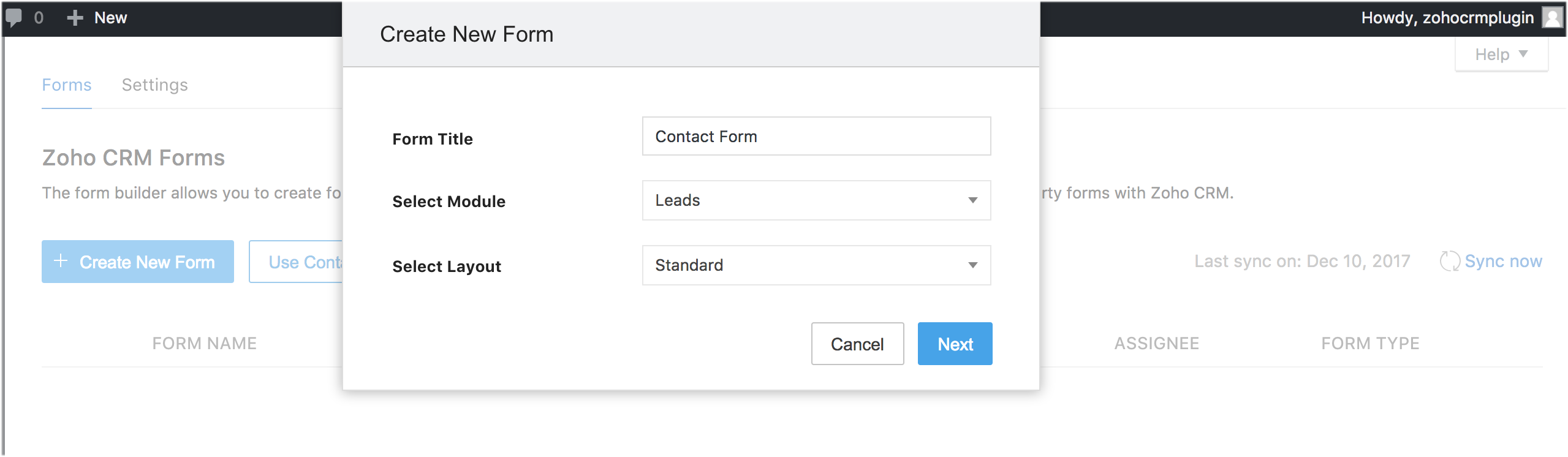 Creating a new form using Zoho CRM