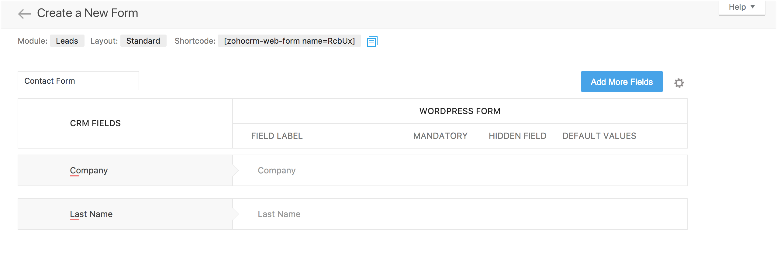 Mapping fields with Zoho CRM