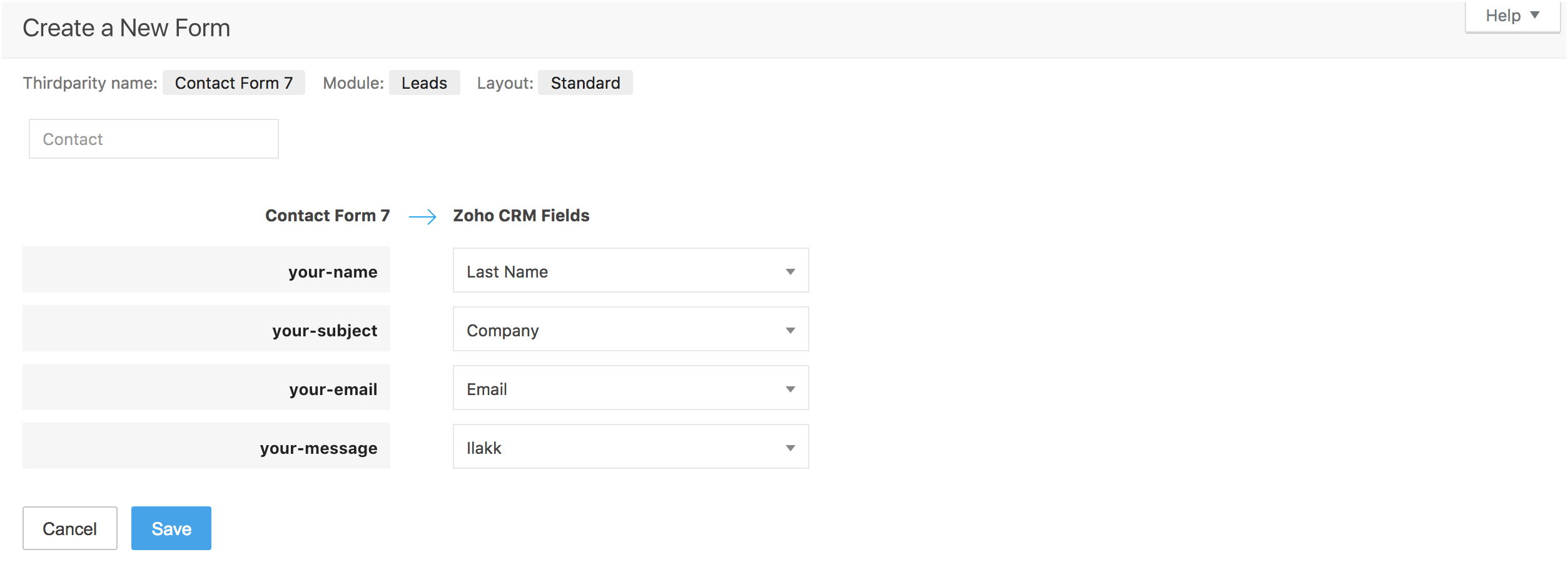Mapping fields with Contact Form 7