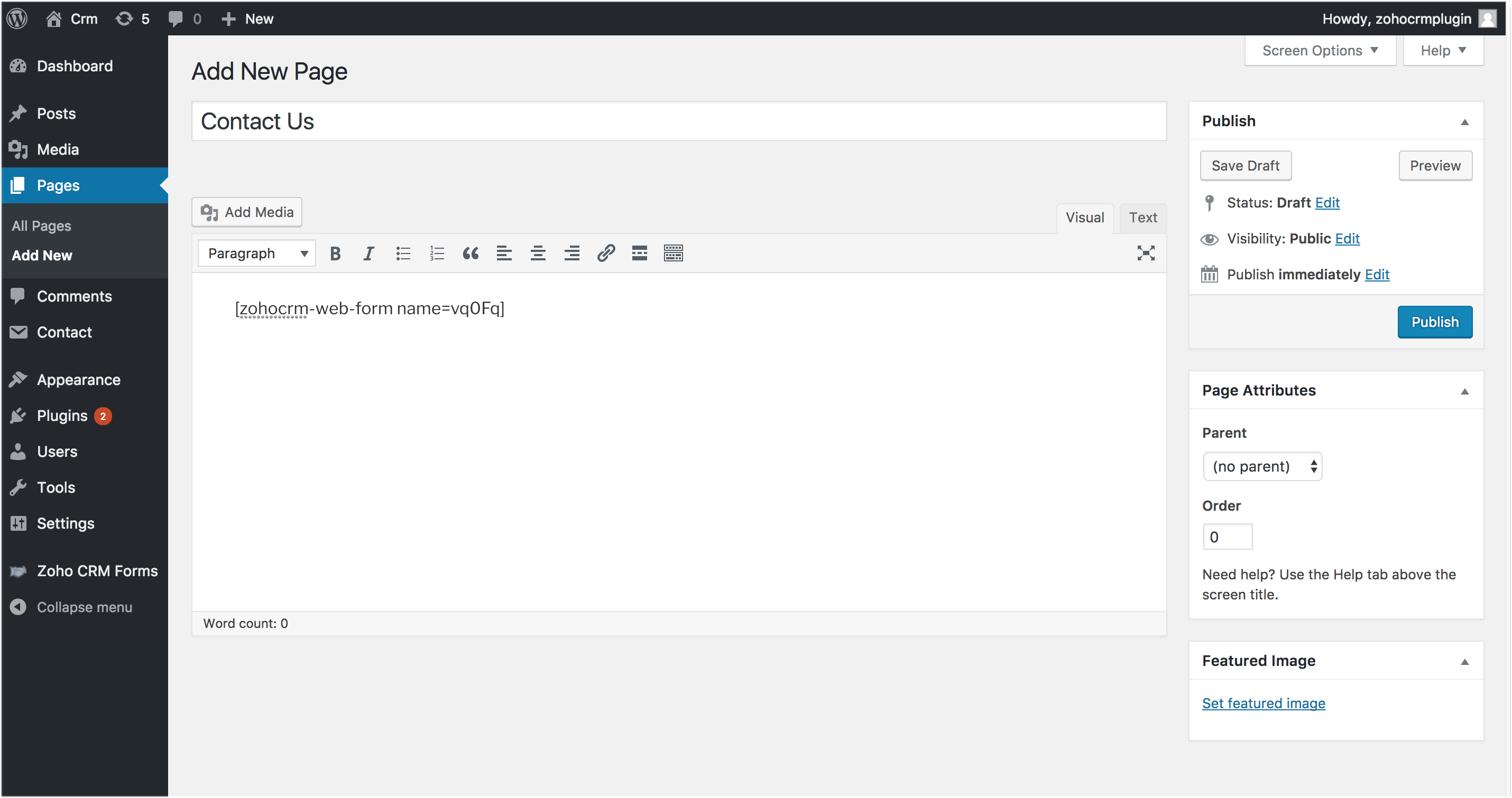 Embedding the form created into a page/post.