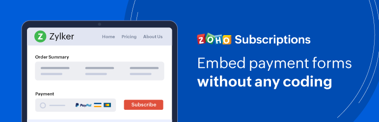 Zoho Subscriptions – Embed Payment Form – WordPress plugin