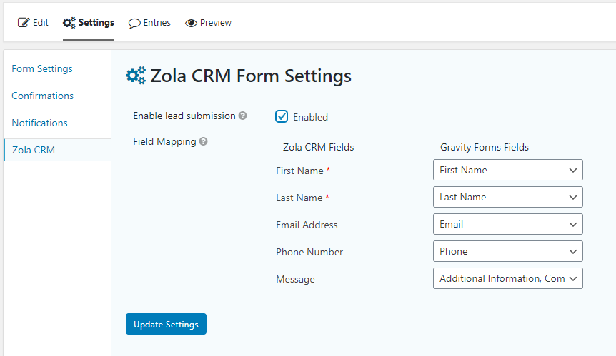Zola CRM Add-on for Gravity Forms
